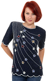 Sequined Blouse with Star Design