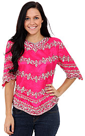 Multi-Design Sequined Blouse. 1253.