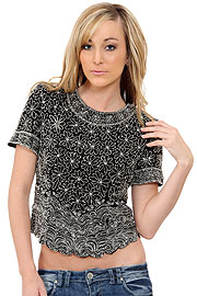 Short Sleeved Net Top with Silver Petal Sequins. 1255.