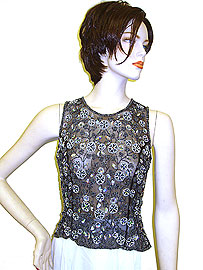 Sleeveless Net Top with Silver Petal Sequins . 1266.