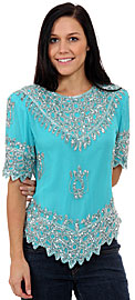 Formal Hand Beaded Blouse. 1276.