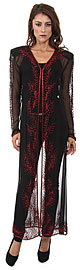 V-Neck Full Sleeves Beaded Long Sheer Jacket . 1285.