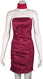 Strapless Shirred Fitted Cocktail Party dress