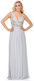 Deep V-Neck Ruched Floor Length Formal Prom Dress