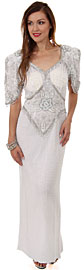 Half Sleeves Sequined Formal Mother of the Bride Dress