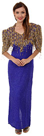 Vintage Look V-Neck Half Sleeves Formal Evening Dress