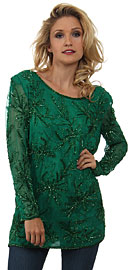 Round Neck Floral Sequined Pattern Blouse. 2890.