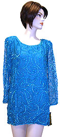 Full Sleeves Sequined Silk Chiffon Blouse. 2926.