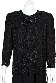 Asymmetric Hand Beaded Jacket with Floral Border. 3211.