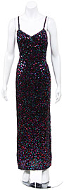 Fully Sequined Long Cocktail Dress with Spaghetti straps