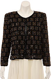 Checkered Pattern Sequin Beaded Jacket. 3241.