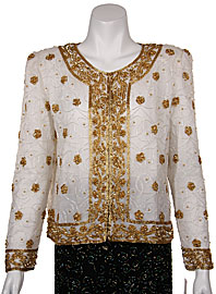 Handbeaded Floral Short Jacket. 3402.