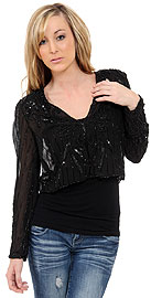 V-neck Short See-through Beaded Jacket  . 3570.