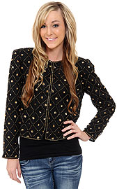 Sequin Beaded Checkered Print Jacket. 3593.