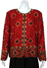 Floral Pattern Hand Beaded Jacket. 3702.