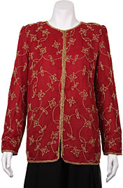 Floral Linked Gold Border Hem Jacket . 3705.