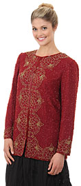 Round Neck Floral Bordered Beaded Jacket. 3706.