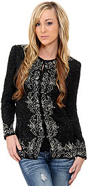 Floral Bordered Beaded Jacket. 3707a.