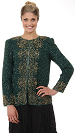 Round Neck Full Sleeves Beaded Jacket. 3707b.
