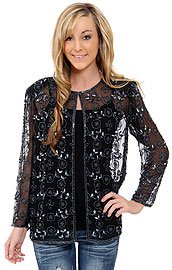 Sheer Jacket With Floral Design. 3763.
