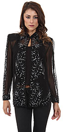 V-Neck Full Sleeves Tea Length Sheer Beaded Jacket. 3769.