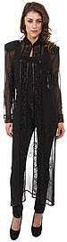 Full Length Sheer Long Jacket. 3780.