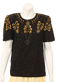 Short Sleeved Stylish Sequin Beaded Blouse. 4078.