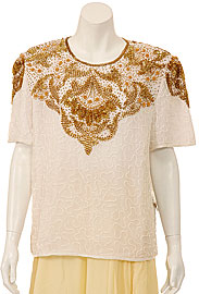 Symmetrical Hand Beaded Sequin Blouse. 4086.