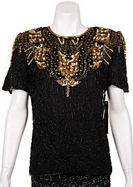 Hand Beaded Sequin Blouse. 4094j.