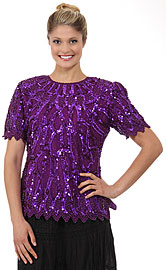 Round Neck Half Sleeves Sequined Blouse. 4263.