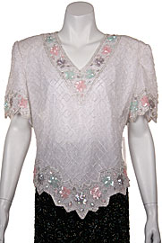 V-Neck Hand Beaded Blouse. 4280.