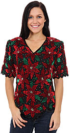 Holiday Spirit Hand Beaded/Sequined Blouse. 4342.