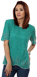 Fully Beaded Blouse with Decorative Hem and Sleeve. 4354.