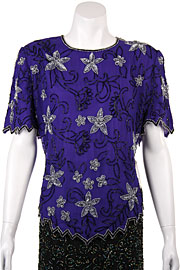 Short Sleeved Floral Beaded Blouse. 4356.