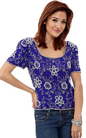 Short Sleeved Hand Beaded Blouse. 4361.
