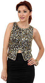 Sleevless Sequined Blouse with Knot Back