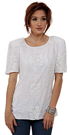 Artistic Beading Round Neck Half Sleeves Blouse. 4385.
