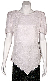 Garden Inspired Beaded Pattern Half Sleeves Blouse. 4388.