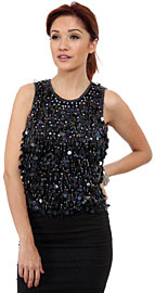 Hanging Sequins Covered Sleeveless Blouse. 4389.