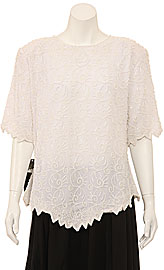 Hand Beaded Short Sleeve Blouse. 4392.