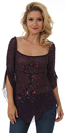 Square Neck Asymmetric Hem Beaded Sheer Blouse.. 4409.