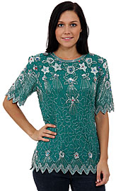 Celestial Hand Beaded/Sequin Blouse. 4434.