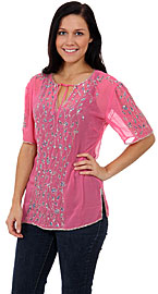 Spreading Floral Vines Hand Beaded Sheer Top. 4752.