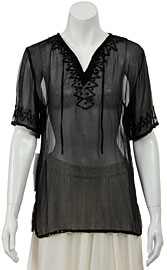 Half Sleeve Sheer Blouse with Zigzag Beading