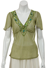V-neck Short Sheer blouse with Sleeves. 4757.