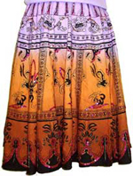 Sequined Multi-Color Print Skirt. 566-1.