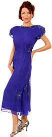 Tea Length Boat Neck Beaded Cocktail Dress with Keyhole