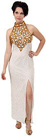 Sequined Silk Beaded Dress with Beautiful Floral Design