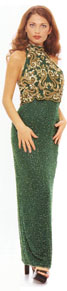 Turtle Neck Long Fully Beaded Gown