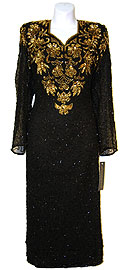 Full Sleeves Below Knee Length Sequined Formal Dress